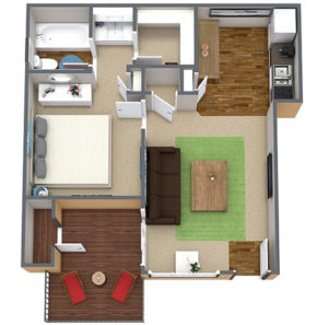 1 bed 1 bath floor plan, living room, kitchen, several closets, patio