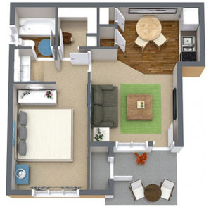 1 bed 1 bath floor plan, kitchen, living room, patio, several closets