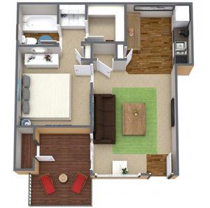 1 bed 1 bath floor plan, living room, kitchen, several closets