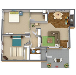 2 bed 1 bath floor plan, living room, kitchen, several closets, patio