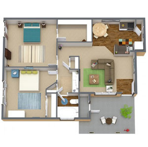 2 bed 1 bath floor plan, living room, kitchen, several closets, patio