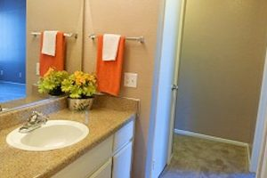 large bathroom sink with mirror, orange towel, yellow and green flowers